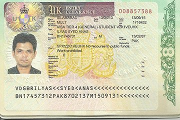 International student visa to study abroad in the UK.