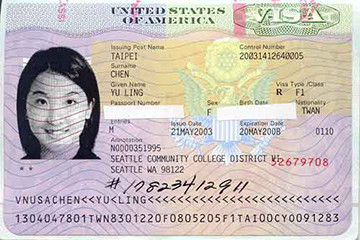 F1 visa for an international student to study abroad in the USA.