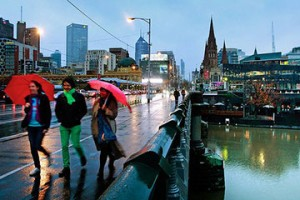 Melbourne on a rainy, winter day.