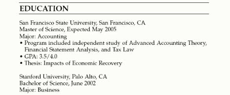 Education Section Examples  Education Section Of Resume