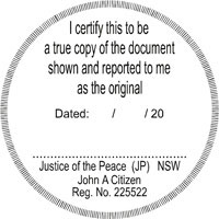 Justice of the Peace certified stamp.