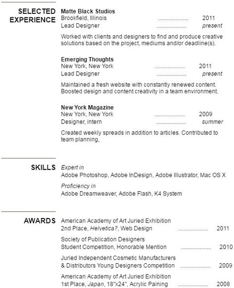 Selected experience section of CV or resume.