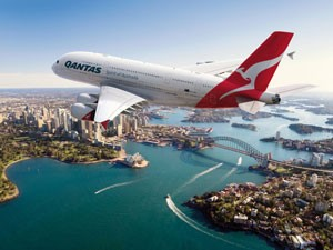International flight arriving in Sydney.