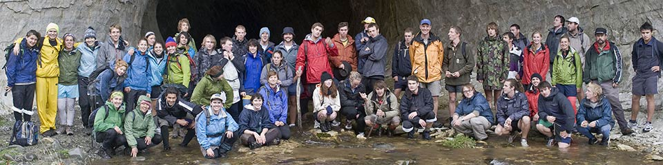 New Zealand university students on a geology field trip.
